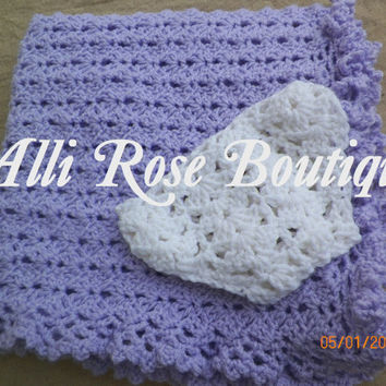 Crochet Lace Shell Blanket - Crochet - Blanket - Baby - Infant - Lap - Lace - Shell - Gift - Baby Shower Gift