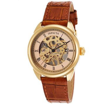 Invicta Women's 17197 Specialty Mechanical 3 Hand Gold Dial Watch