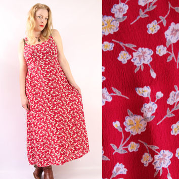 Vintage - 90s - Red Floral - Overall Strap - Back Tie - Long - Maxi Dress - Romantic - Grunge Revival - Large - Extra Large