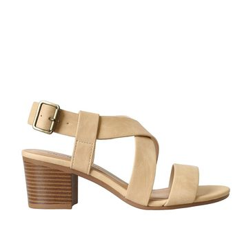 Beige Strappy Block Heel Sandals