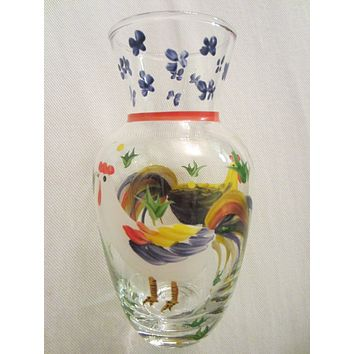 Glass Rooster Carafe Hand Painted Floral Design Decanter