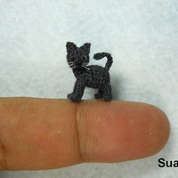 Tiny Black Cat Kitten  Micro Miniature Crochet House Cat  by SuAmi