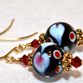 Heart Dangle Earring, Swarovski Crystal, Glass Bead Jewelry