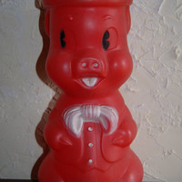 Vintage 1964 Red Plastic BIG BOY PIG Bank By A J Renzi Corp With Original Sale Tag On Top