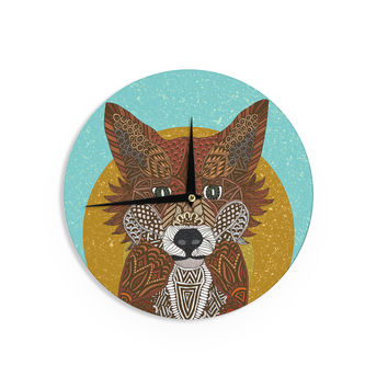 "Art Love Passion ""Colored Fox"" Blue Orange Wall Clock"