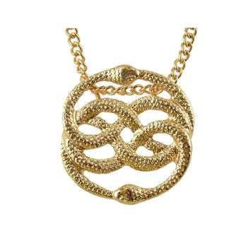 Gold Two  Snake Pendant Necklace