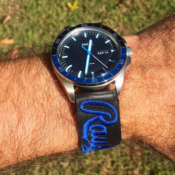 Strap made from Rawlings glove with blue accented Fossil watch face!