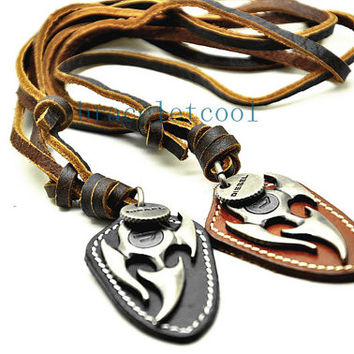 soft leather necklace key pendant men leather long necklace, women leather necklace  CR28