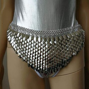 New Fashion Scalemail Mermaid Fish Scales Cloth Skirt Chainmail Waist Belly Chains Silver Fish Scale Tentacles Nymph Cosplay Macchar Cosplay Catalogue