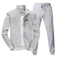 """Under Armour"" Trending Men Stylish Print Long Sleeve Zipper Top Sweater Pants Sweatpants Set Two-Piece Sportswear Light Grey I13687-1"