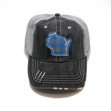 Wisconsin Trucker Hat - Gray Distressed - Teal Buffalo Check
