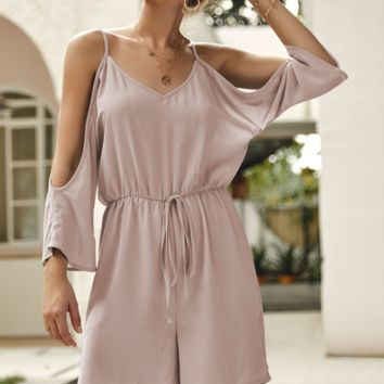 Summer fashion new women's solid color sling strapless romper
