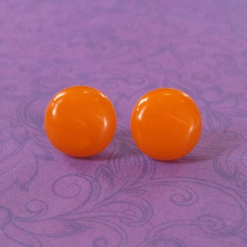 Orange Studs, Hypoallergenic Pierced Stud Earrings, Handmade Earrings, Fused Glass Jewelry, Orange Jewelry, Halloween - Mariana - 2285 -4