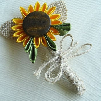 Sunflower groom boutonniere, Fabric Kanzashi Sunflower with Burlap Leaves, Romantic Country Wedding grooms boutonniere