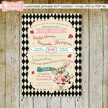 Alice in Wonderland Bridal shower Invitation, Vintage Alice in Wonderland  tea party invitation, Vintage Mad Hatter Invite - Custom Digital