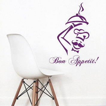 Wall Decals Phrase Words Bon Appetit Kitchen Cafe Chef Decal Vinyl Decal Sticker Kids Nursery Baby Room Decor kk343