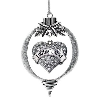 Football Aunt Pave Heart Charm Holiday Ornament