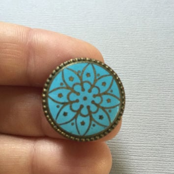 Antique Enamel Pin Turquoise Blue with Design