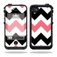MightySkins Protective Vinyl Skin Decal Cover for LifeProof iPhone 4 / 4S Case Sticker Skins Black Pink Chevron