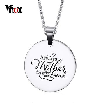 Vnox Free Customized Engraving Dog Tag Love Necklace for Mom Silver Color Stainless Steel Mother's Day Gift Colar Jewelry