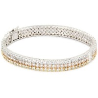 "CZ by Kenneth Jay Lane ""Classic Cubic Zirconia"" Rhodium-Plated Three-Color Triple-Row Bracelet"