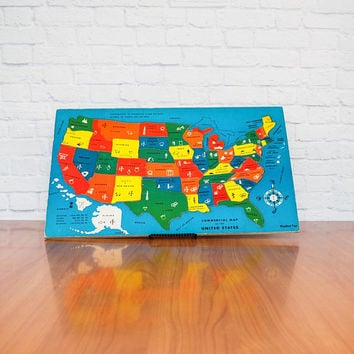 Vintage 50s US Map Wooden Puzzle | Woodland Toys Commercial Map of United States LARGE