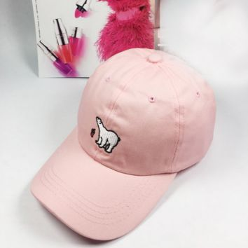 Pink Polar Bear Embroidered Baseball hat Hat