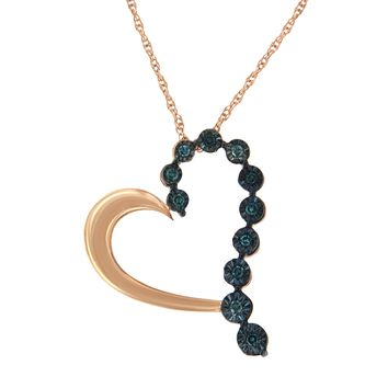 Rose Plated Sterling Silver 0.1ct TDW Treated Blue Rose Cut Diamond Heart Pendant Necklace (Blue,I2-I3)