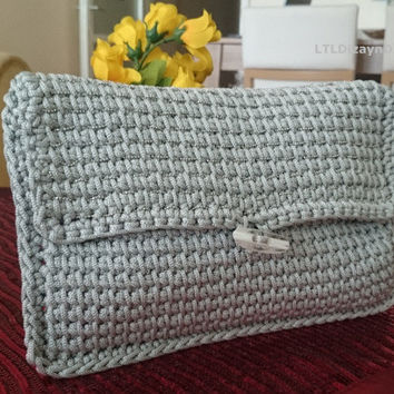 valentine's day gift grey macrame clutch bag embellished,grey clutch casual,women's accessory,hand crocheted bag,wedding,unique gift for her