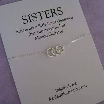 Three Sisters Necklace // Sisters necklace // Three  sisters jewelry. Delicate sterling silver // Inspirational Gift