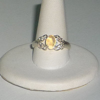 Crystal Opal Ring With White Topaz Sterling Silver .925