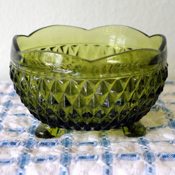 Vintage Indiana Glass Green Footed Bowl- Diamond Point- Pineapple Pattern Candy Dish- Relish Server- Christmas Home Decor