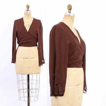 Vintage 20s BLOUSE / 1920s Chocolate Brown Silk Crepe Wrap Top with Wide Lace Sleeves xs - s - m