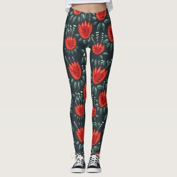 Decorative Abstract Red Tulip Dark Floral Pattern Leggings