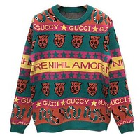 GUCCI Newest Popular Women Men Leisure Knit Long Sleeve Round Collar Sweater Pullover Top Sweatshirt
