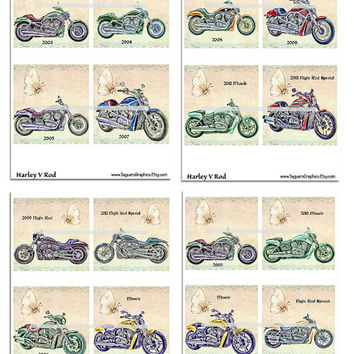 Harley VRod Motorcycles Altered Art - Coasters Artwork, 4.0 inch Squares, Arts and Craft Projects