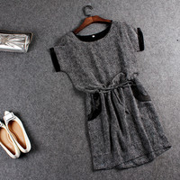 Gray Short-Sleeve Drawstring-Waist Dress With Pockets