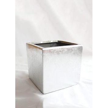 """Silver Ceramic Cube Vase - 5"""" Tall x 5"""" Wide"""