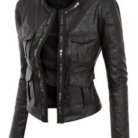Doublju Women Faux Leather Fitted Rider Moto Jacket Jacket (Black, M)