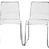 Clear Acrylic Lino Dining Chairs, Pair, Acrylic / Lucite, Dining Chair Sets