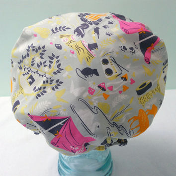 Shower Cap - Retro Happy Camper Light Celery Green Deer Bees Tents Camping - Rockabilly Bath and Beauty Hat