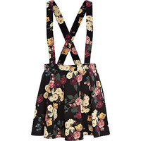 Black floral print dungaree skater skirt - mini skirts - skirts - women