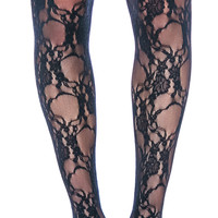 Leg Avenue Fancy Floral Lace Pantyhose Black One