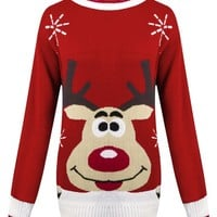 Womens Knitted Christmas Novelty Santa Reindeer Penguin Snowman Jumper Sweater - RED REINDEER - UK 12/14 AUS 14/16 US 8/10