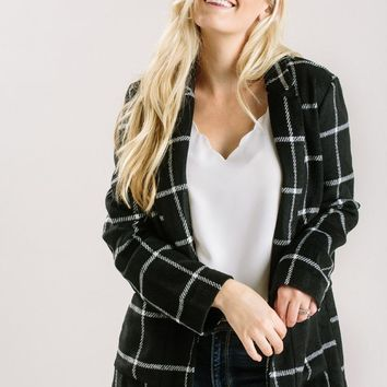 Dani Black Plaid Wool Blend Blazer