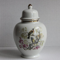 Oriental Porcelain Ginger Jar Urn Vase, Asian Birds & Flowers Scene, Vintage Ceramic Canister