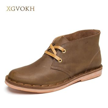 XGVOKH Hot Classic Leather Tooling Boots Crazy Horse Men Fashion Desert Boot Popular H
