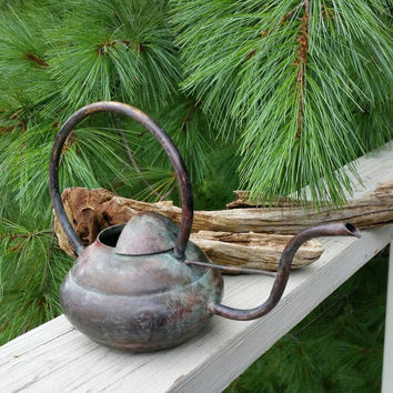 Brass Watering Can Loop Handle Curved Spout Rustic Farmhouse Decor