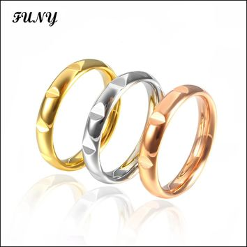 3 colors Engagement Rings for women Wedding Bands Stainless Steel High quality female lady jewelry fashion rings Gift