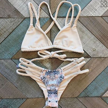 Retro Pink Hollow Out Swimsuit swimwear Set Summer Gift 221